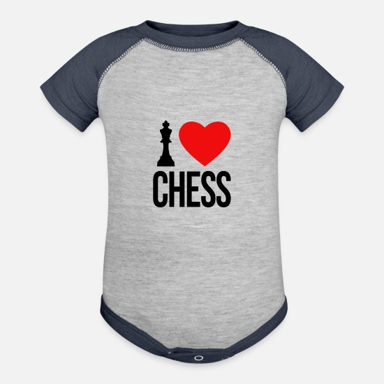 Chess Baby Clothing - I LOVE CHESS - Baseball Baby Bodysuit heather gray/navy