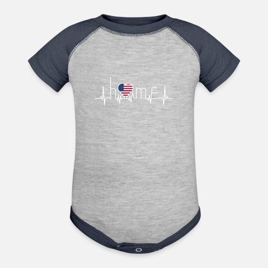 Love Baby Clothing - i love home heimat USA Amerika - Baseball Baby Bodysuit heather gray/navy