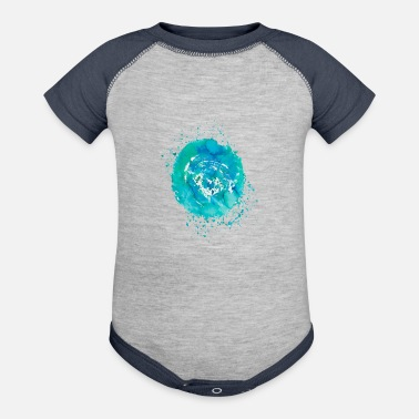 Colorful green-blue splash of color - Baseball Baby Bodysuit