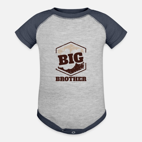 Big Baby Clothing - Big Brother Big Sister Big Brother BIG Badge - Baseball Baby Bodysuit heather gray/navy