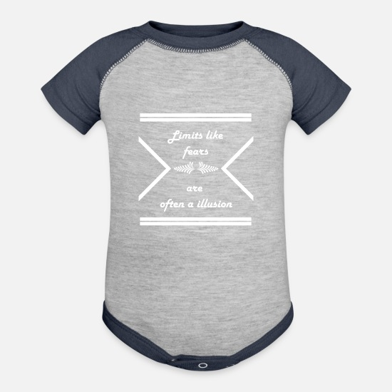 Weightlifting T-shirts Baby Clothing - Limits like fears are often a illusion - Contrast Baby Bodysuit heather gray/navy