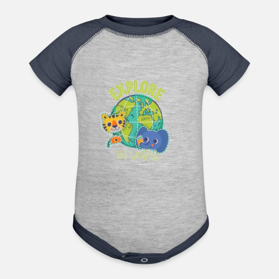 Kids Baby Clothing - Discover the world - Baseball Baby Bodysuit heather gray/navy