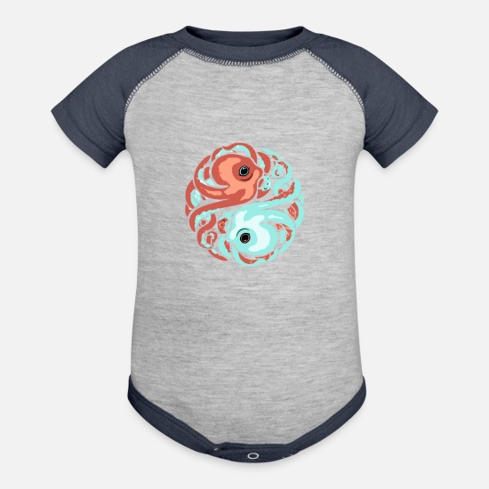 Game Baby Clothing - Cephalopod Circle - Baseball Baby Bodysuit heather gray/navy