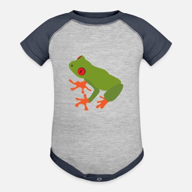 Tree Collection of green tree frogs - Baseball Baby Bodysuit