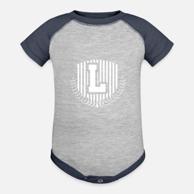 386bdea05 Initial Monogram Letter L Names Emblem 0966-L-PR - Contrast Baby Bodysuit