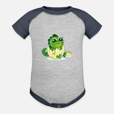 Eggshell baby dino in eggshell cartoon - Contrast Baby Bodysuit