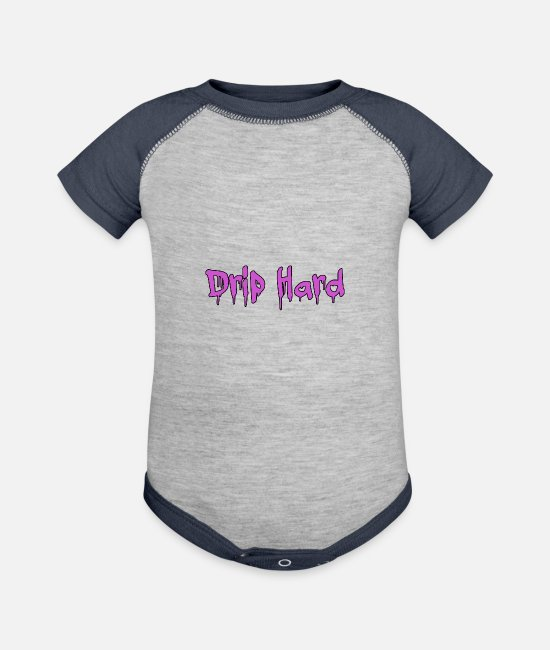 Rap Baby One Pieces - Drip Hard Purple - Baseball Baby Bodysuit heather gray/navy