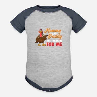 Thanksgiving Mommy Daddy Thankful for Me Organic Long-Sleeved Baby ... de9f77c7e