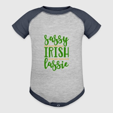 Sassy Irish Lassie St Patricks Day Ireland Woman - Baby Contrast One Piece