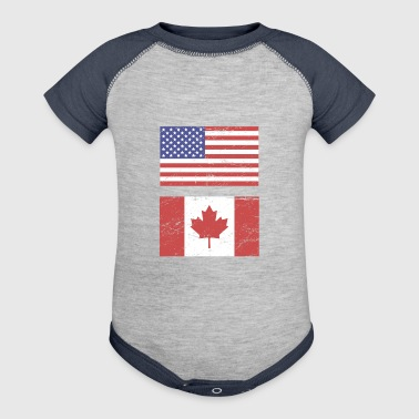 Canada United States Flag & Canada Flag - Baby Contrast One Piece