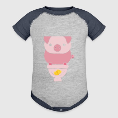 Piggy Bank - Baby Contrast One Piece