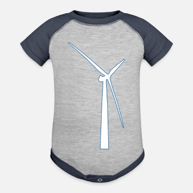 Wind windmill windmuehle wind turbine windrad9 - Contrast Baby Bodysuit
