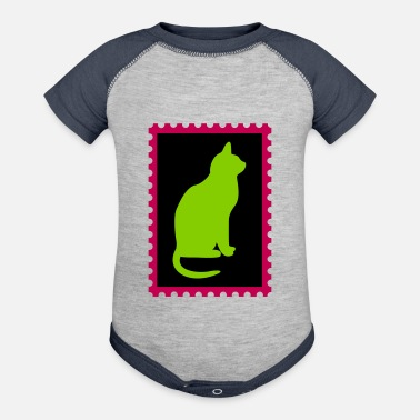 Stamp stamp with a cat - Contrast Baby Bodysuit