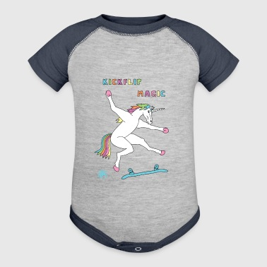 Kickflip Magic Unicorn Outline - Baby Contrast One Piece