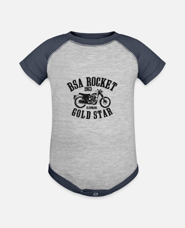 Missile Baby One Pieces - Vintage Retro BSA Gold Star Rocket Motorcycle Bike - Baseball Baby Bodysuit heather gray/navy