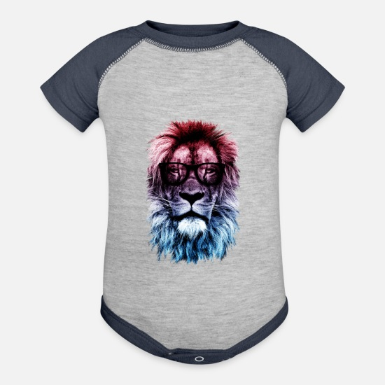 Hipster Baby Clothing - Hipster lion - Contrast Baby Bodysuit heather gray/navy