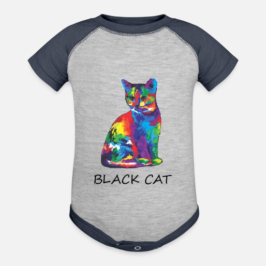 Rainbow Baby Clothing - Wrong Rainbow Cat Black - Baseball Baby Bodysuit heather gray/navy