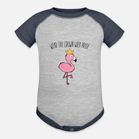 Gift Idea Baby Clothing - Wear the crown with pride Flamingo - Contrast Baby Bodysuit heather gray/navy