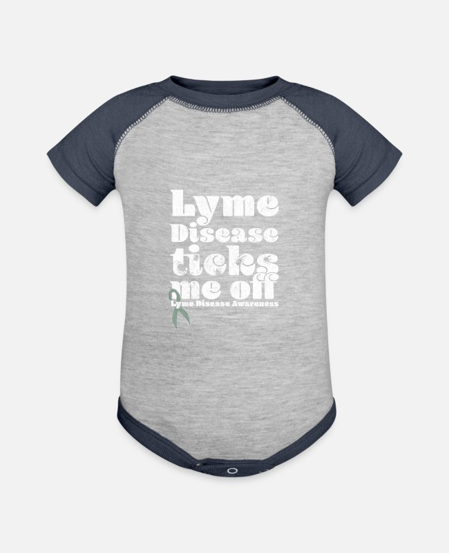 Lyme Baby One Pieces - Lyme Disease Awareness Funny Lyme Disease Lyme Diseas Ticks Me Off - Baseball Baby Bodysuit heather gray/navy