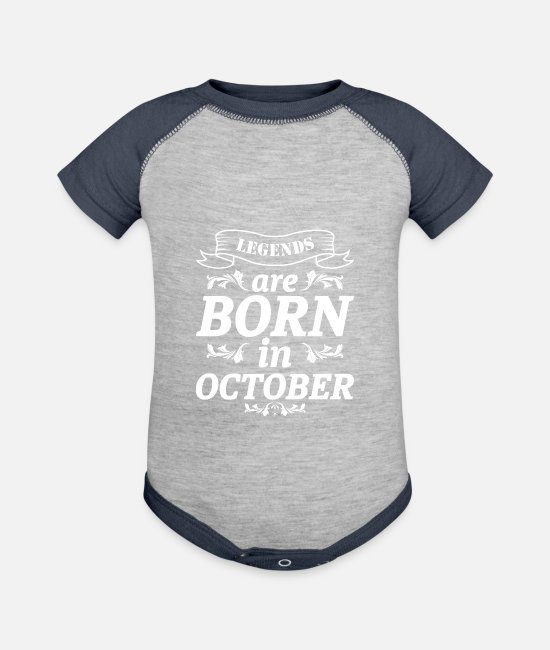 October Baby One Pieces - OCTOBER BIRTHDAY GIFT - Baseball Baby Bodysuit heather gray/navy