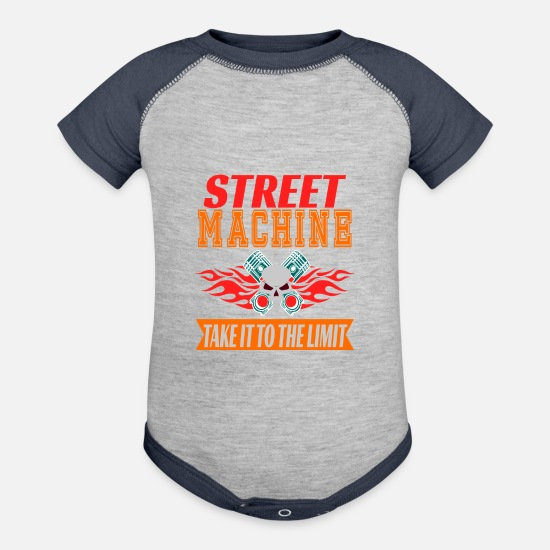 Profit Baby Clothing - and adventurous tee design for street machine - Baseball Baby Bodysuit heather gray/navy
