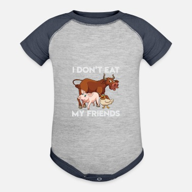 dd7844316 I Don't Eat My Friends Funny Vegan Vegetarian - Contrast Baby Bodysuit