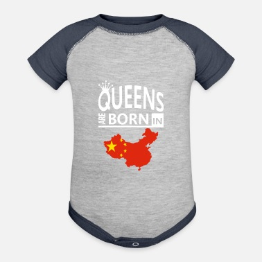 Proud Heritage Birthday Pride Love Queens are born in China Pride Woman Birthday - Contrast Baby Bodysuit