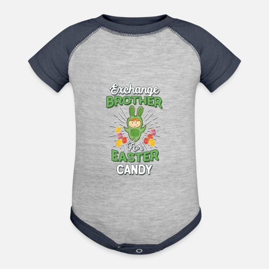 Easter Bunny Baby Clothing - Exchange Brother Easter Candy Toddlers - Baseball Baby Bodysuit heather gray/navy