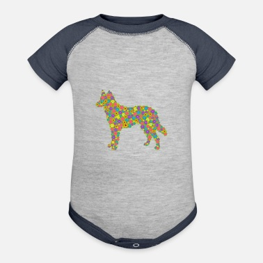 Shepherd German Shepherd Flower Shirt - Contrast Baby Bodysuit
