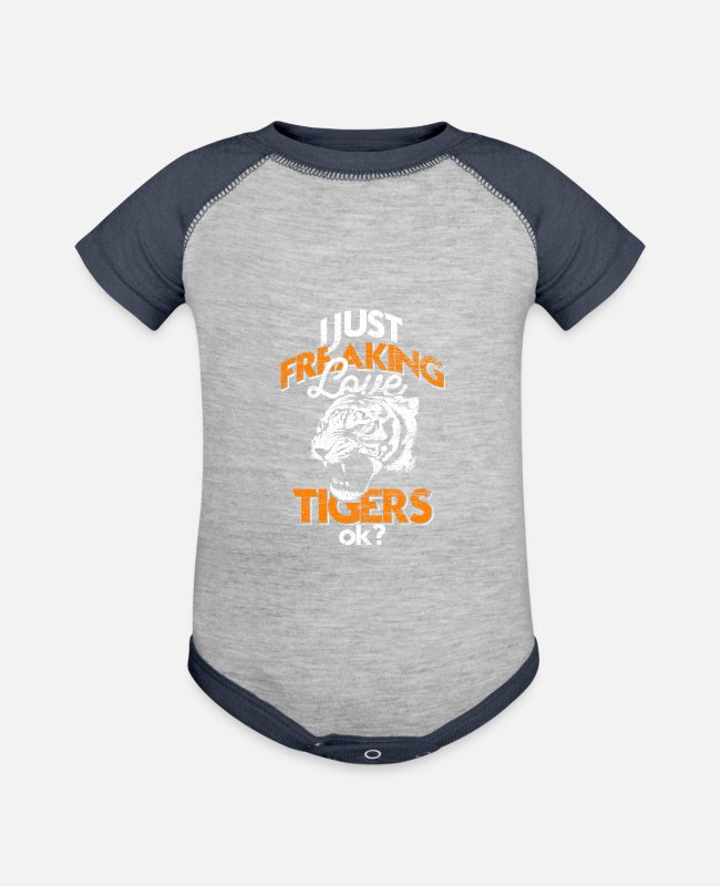 Asia Baby One Pieces - Tiger - Baseball Baby Bodysuit heather gray/navy