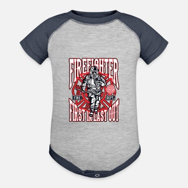 Fire Firefighter Maltese Cross First Responders - Contrast Baby Bodysuit