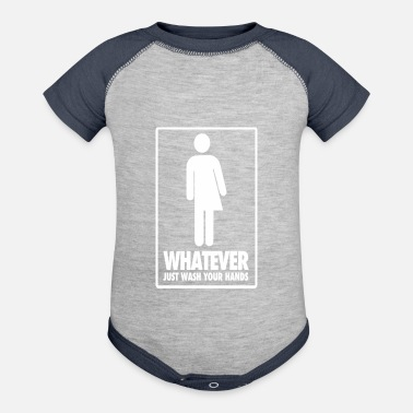 Restroom Dont Care Which Restroom Just Wash Your Hand T Shi - Contrast Baby Bodysuit