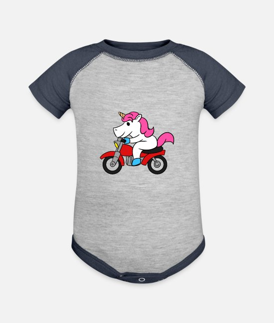 Unicorn Riding Motorcycle Baby One Pieces - Unicorn Riding Motorcycle T-Shirt Funny Magical - Baseball Baby Bodysuit heather gray/navy