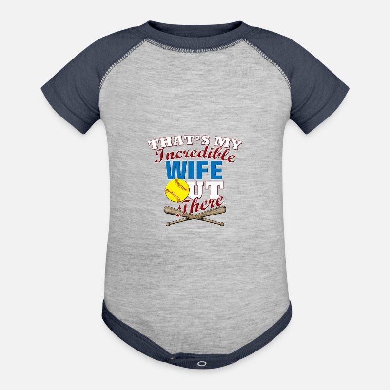 Contrast Baby BodysuitSoftball Wife Funny Gift For Husband