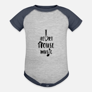 House I Love House Music - Contrast Baby Bodysuit