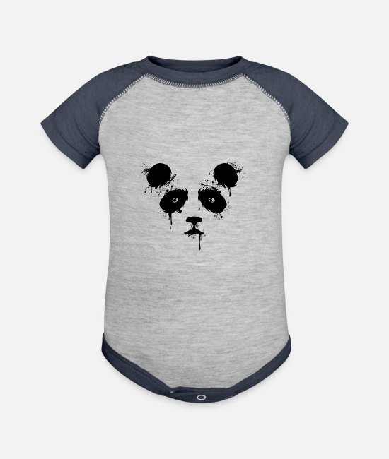 Red Baby One Pieces - Panda Paint - Baseball Baby Bodysuit heather gray/navy