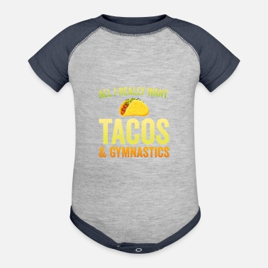 Tacos and Gymnastics Shirt for Gymnast, Funny Gift - Contrast Baby Bodysuit