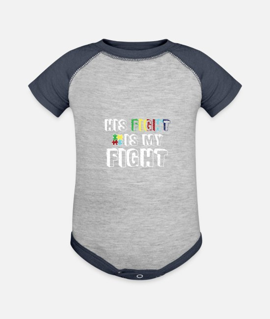 Proud Baby One Pieces - His Fight is My fight - Baseball Baby Bodysuit heather gray/navy