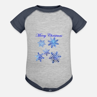 Snow merry christmas snow flakes - Baseball Baby Bodysuit