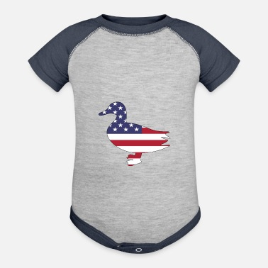 American Flag Duck Happy 4th of July - Contrast Baby Bodysuit