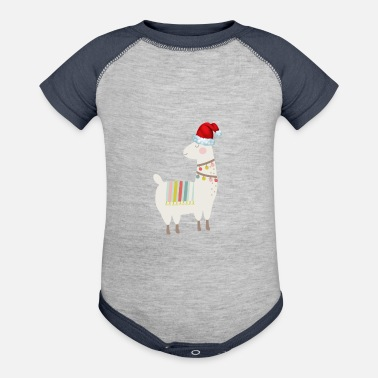 Llama Animal Christmas Day Winter Season Santa - Baseball Baby Bodysuit