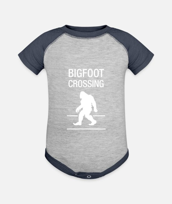 Christmas Baby One Pieces - Funny Bigfoot Crosing T-shirt - Baseball Baby Bodysuit heather gray/navy