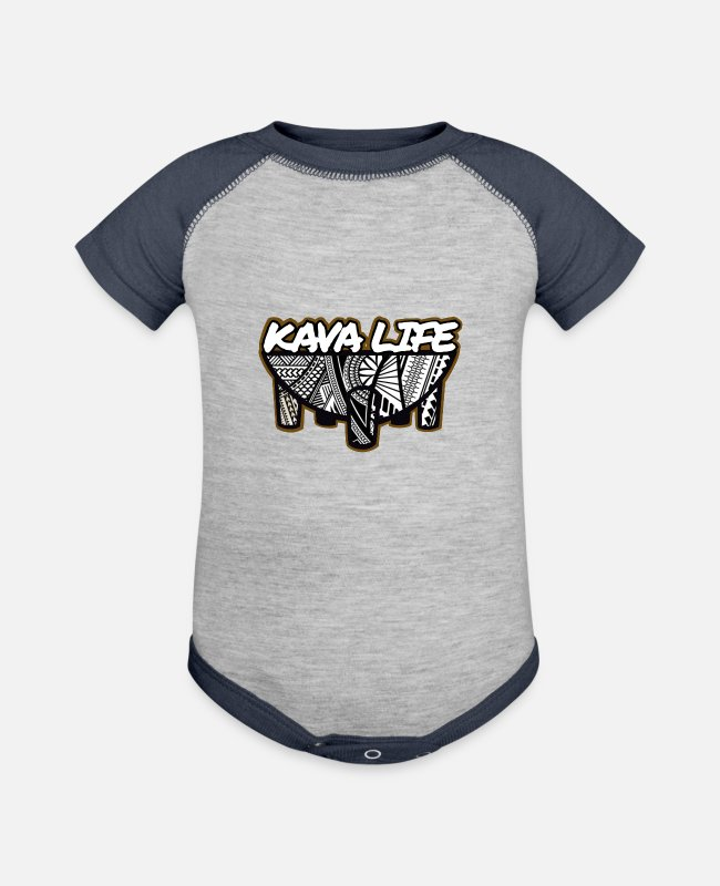 Design Baby One Pieces - Kava Life - Baseball Baby Bodysuit heather gray/navy