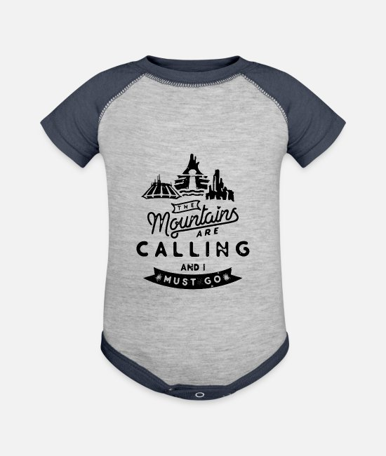 Mountains Baby One Pieces - Mountains are Calling and I Must Go - Baseball Baby Bodysuit heather gray/navy