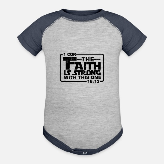 Christian Baby Clothing - The Faith is strong with this one Christian Funny - Baseball Baby Bodysuit heather gray/navy