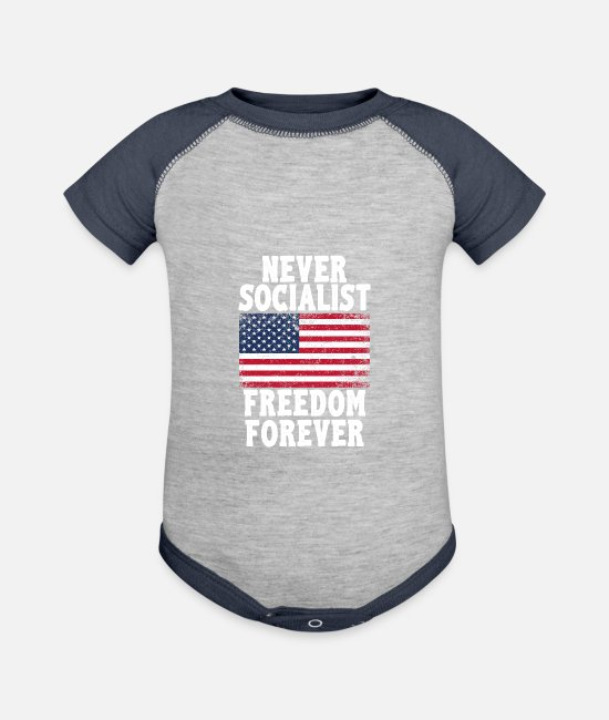 Proud Baby One Pieces - Never Socialist Freedom Forever Proud Republican - Baseball Baby Bodysuit heather gray/navy