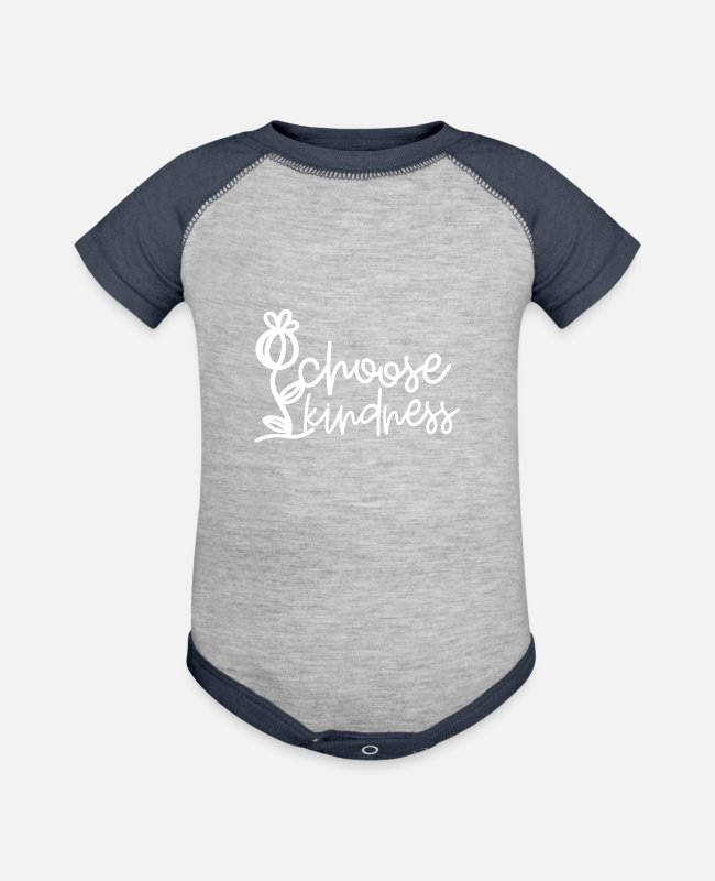 Choose Kindness Baby One Pieces - Kindness Choose Kindness - Baseball Baby Bodysuit heather gray/navy