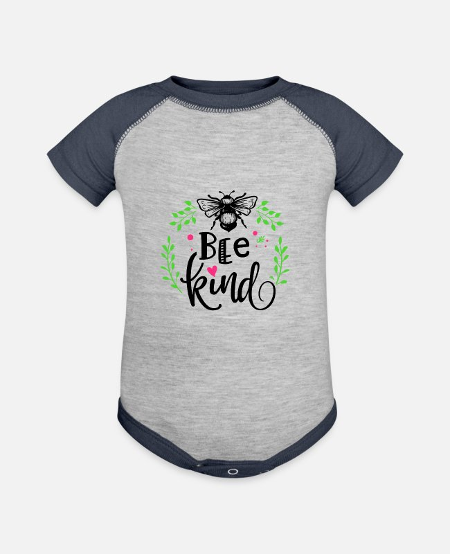 Bee Kind Baby One Pieces - Kindness Bee Kind Save the Bees Be Kind - Baseball Baby Bodysuit heather gray/navy