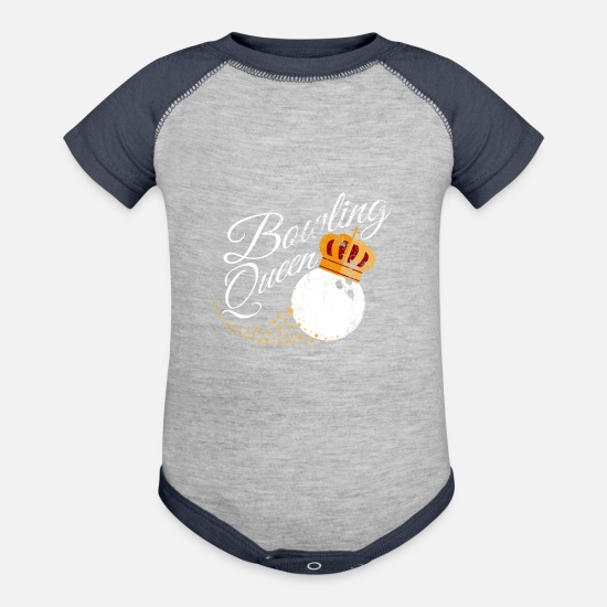 Gutter Baby Clothing - Bowling Queen design Funny Gift For Girls Bowlers - Baseball Baby Bodysuit heather gray/navy