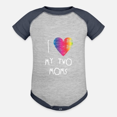 Clothes I Love My Two Moms - lgbt baby clothing gay - Baseball Baby Bodysuit